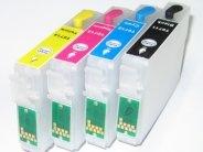 Quickfill-Nachfüllpatronen - 4 wiederbefüllbare Quickfill-Leerpatronen mit Auto-Reset-Chip kompatibel zu den Epson-Patronen 29 schwarz, 29 cyan, 29 magenta und 29 gelb