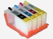Quickfill-Nachfüllpatronen - 4 wiederbefüllbare Quickfill-Leerpatronen mit Auto-Reset-Chip kompatibel zu den HP-Patronen 364 schwarz, 364 cyan, 364 magenta und 364 gelb