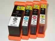 Sparpack - 4 Druckerpatronen kompatibel zu den Lexmark-Patronen 100XL schwarz, 100XL cyan, 100XL magenta und 100XL gelb