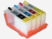Quickfill-Nachfüllpatronen - 4 wiederbefüllbare Quickfill-Leerpatronen mit Auto-Reset-Chip kompatibel zu den HP-Patronen 920 schwarz, 920 cyan, 920 magenta und 920 gelb
