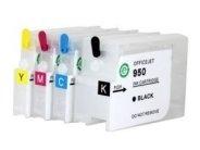 Quickfill-Nachfüllpatronen - 4 wiederbefüllbare Quickfill-Leerpatronen mit Auto-Reset-Chip kompatibel zu den HP-Patronen 950 schwarz, 951 cyan, 951 magenta und 951 gelb